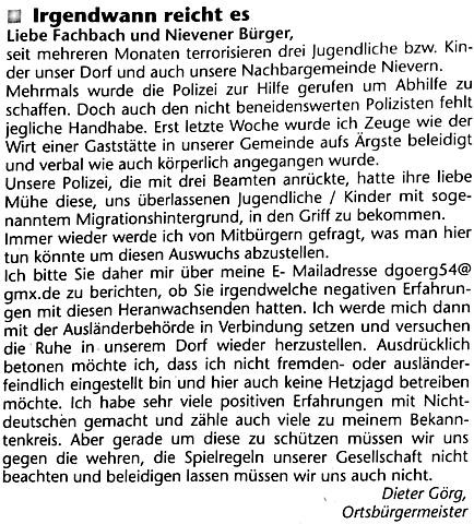 Denunziationsaufruf Görg Fachbach